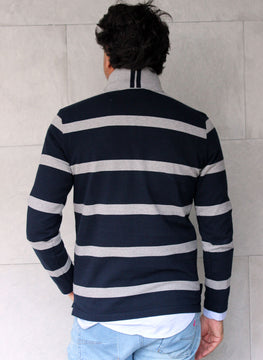 POLO MAN BLUE AND GRAY STRIPES