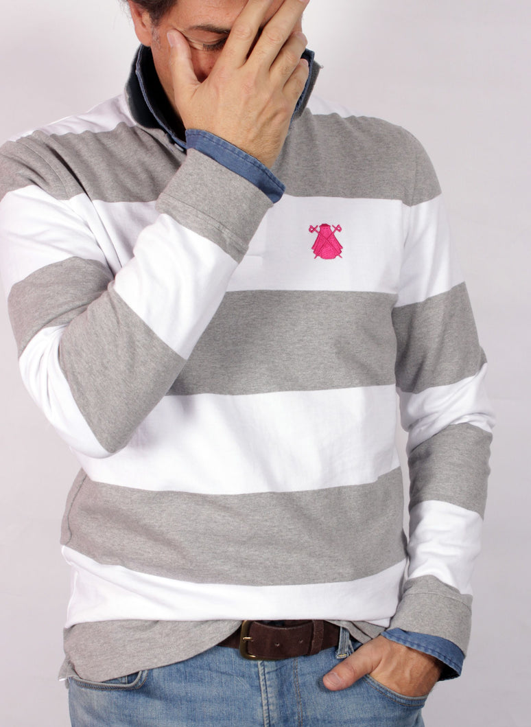 POLO HOMME GRIS ET RAYURES BLANCHES