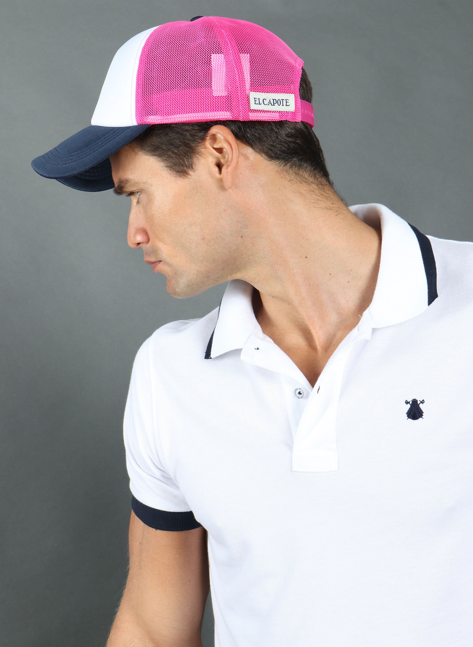 Fluor Pink Mesh Cap and Navy Cape