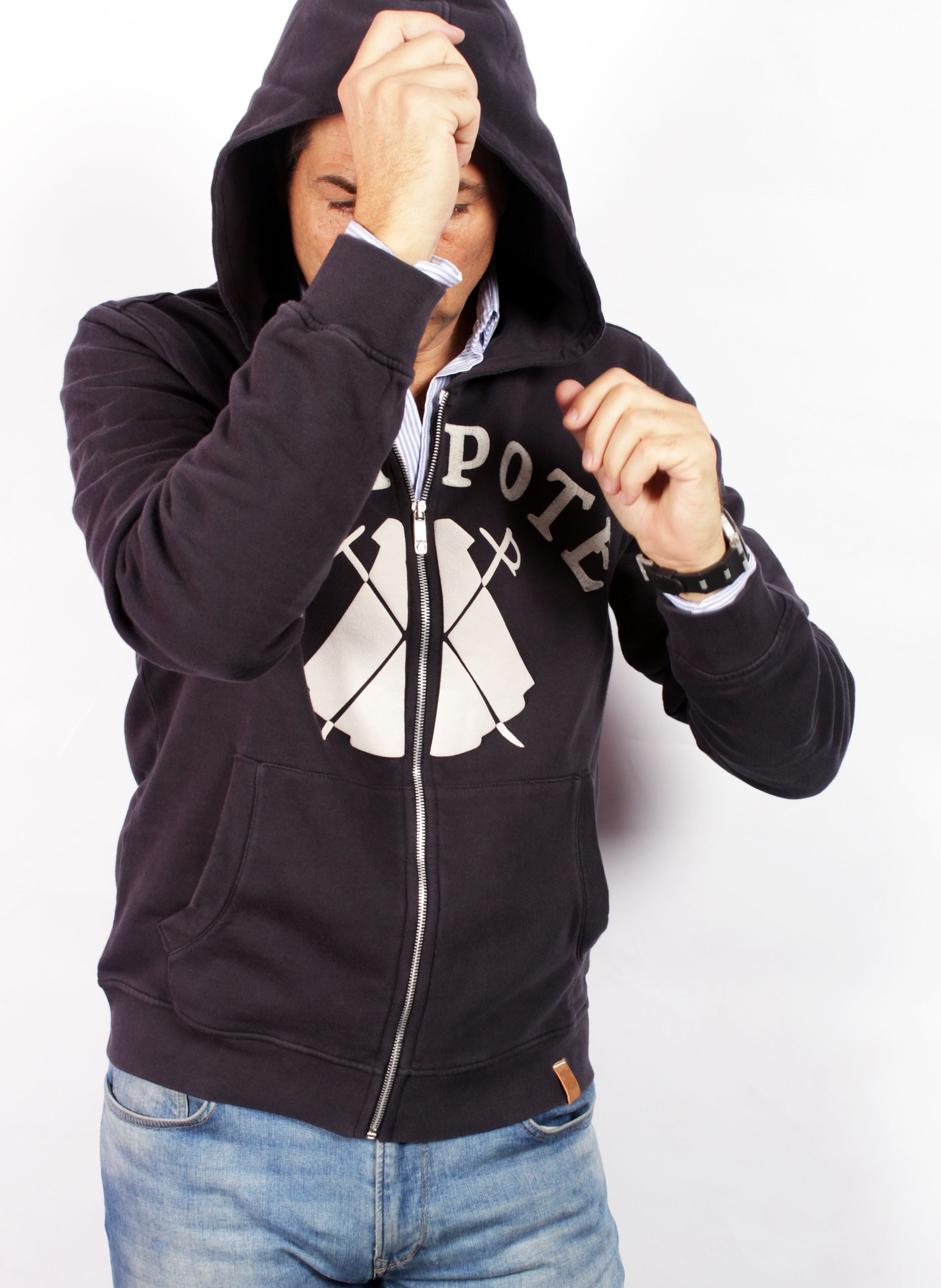 BLUE HOODED SWEATSHIRT WITH ZIPPER