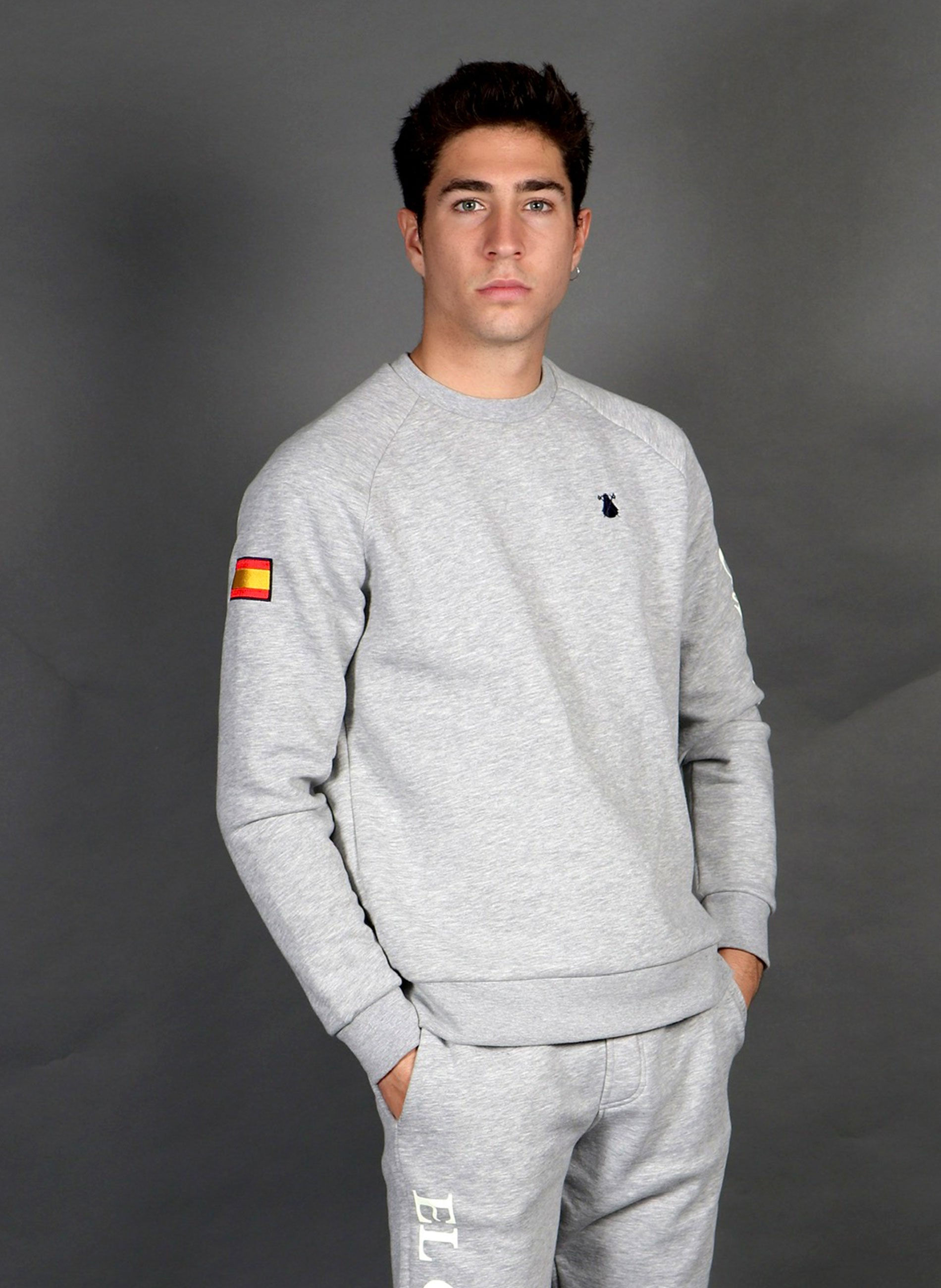 Gray Sweatshirt Spain Man
