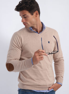 Beige Crew Neck Sweater Elbow Patches Man