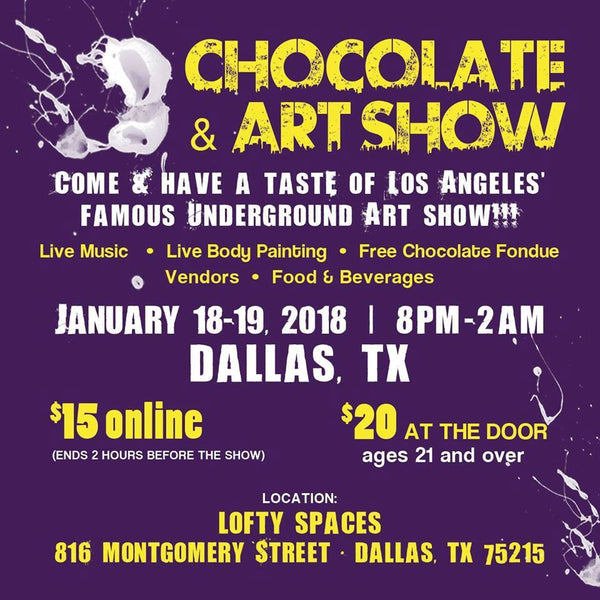dallas art show vendors chocolate local market art drinks