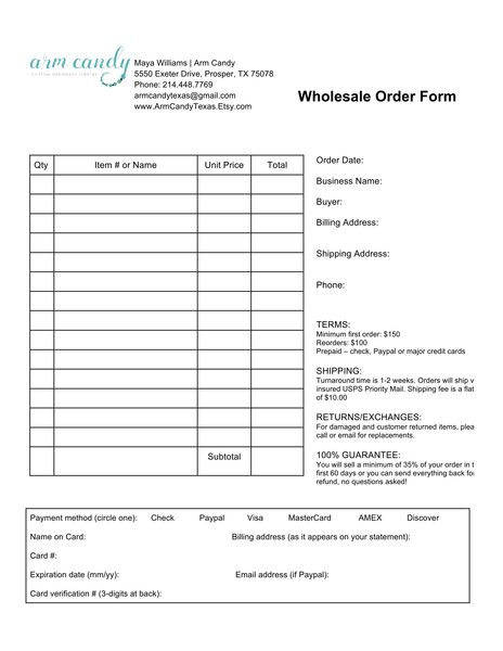 wholesale order form boutiques retailers buyers stockiest