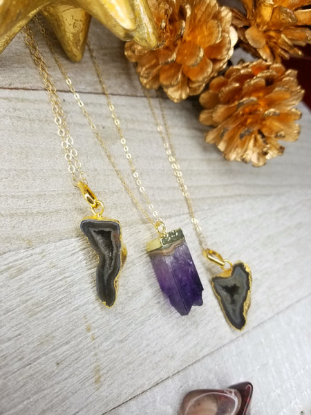 Natural black agate geode and amethyst on gold-filled chain