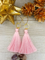 Light Pink Tassel Earrings With Gold Plated Accents