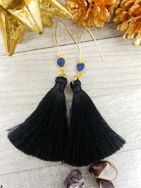 Black Tassel Earrings With Navy Druzy Accents