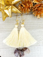 Cream Tassel Earrings With Gold Plated Accents