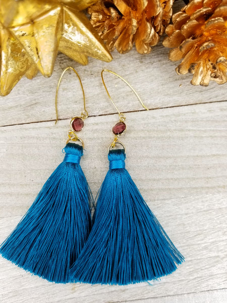 Jewel Tone Blue Tassel Earrings With Gold Plated Accents