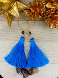 Blue Tassel Earrings With Gold Plated Accents