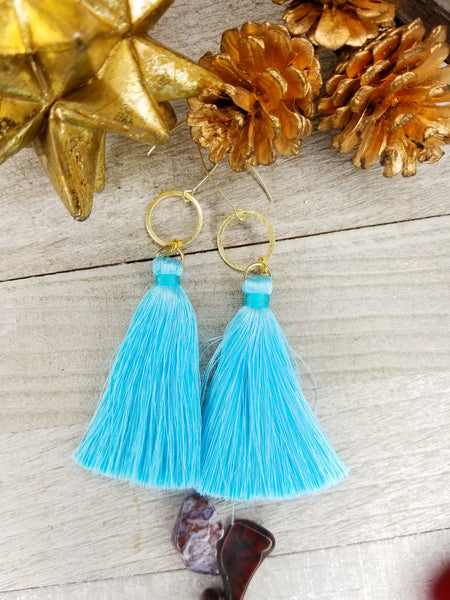 Baby Blue Tassel Earrings With Gold Plated Accents