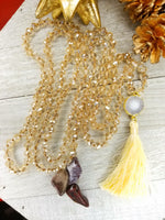 Long Faceted Crystal Necklace with cream agate and tassel