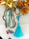 Long Faceted Crystal Necklace with turquoise agate and tassel