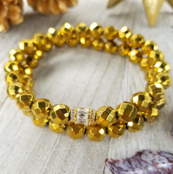 Gold Faceted Hematite Bracelet Set Small Gold Plated Baguette