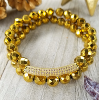 Gold Faceted Hematite Bracelet Set Gold Plated Bar