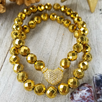 Gold Faceted Hematite Bracelet Set Gold Plated Heart