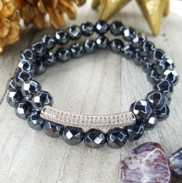 Dark Silver Faceted Hematite Bracelet Set Plated Bar