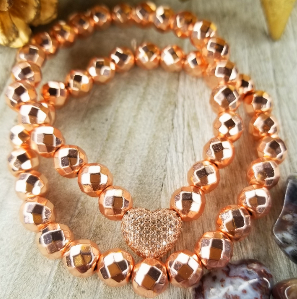 Rose Gold Faceted Hematite Bracelet Set Plated Heart