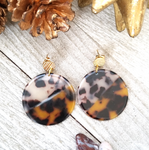 Two Tone Circle Tortoise Shell Earrings