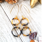 Triple Circle Tortoise Shell Earrings