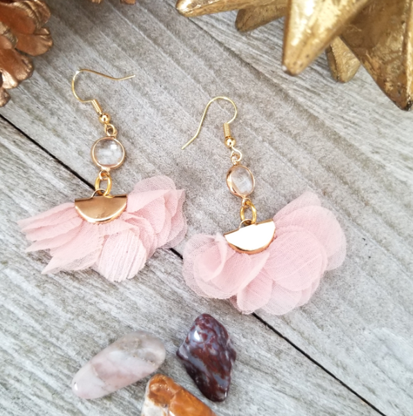 Pink Ruffled Tassel Earrings With Clear Crystal Accent
