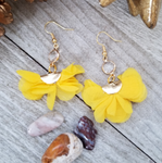 Yellow Ruffled Tassel Earrings With Clear Crystal Accent