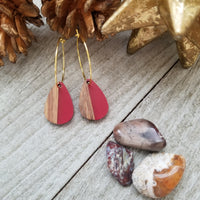 Extra Small Red Wood and Resin Teardrop Earrings