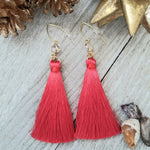 Cherry Red Tassel Earrings