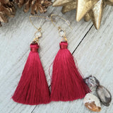 Dark Red Tassel Earrings
