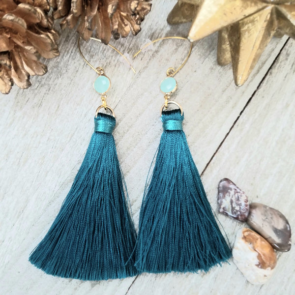 Jewel tone Blue Teal Tassel Earrings