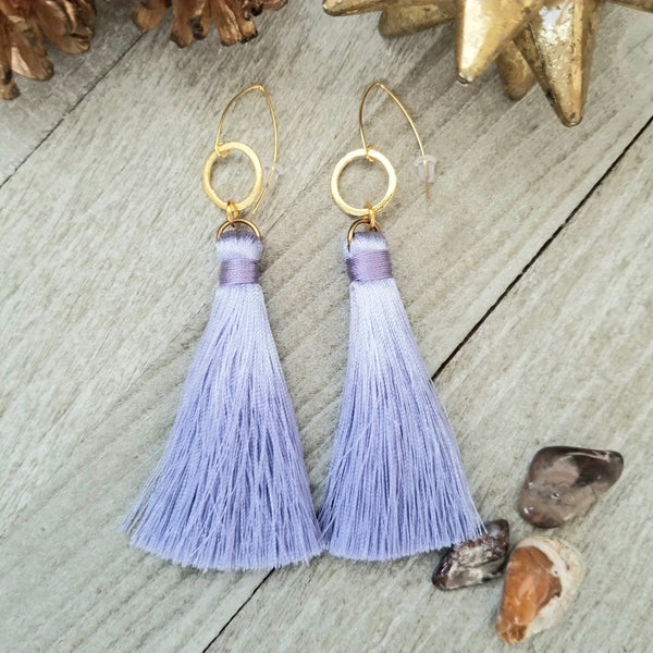 Lavender Tassel Earrings