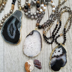 Long Crystal Necklaces with Agate Accent