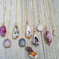 Gold Filled Necklaces with Agate Accent