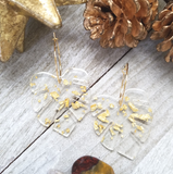 Clear Acrylic Earrings with Gold Flecks