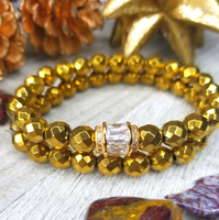 Gold Faceted Hematite Bracelet Set
