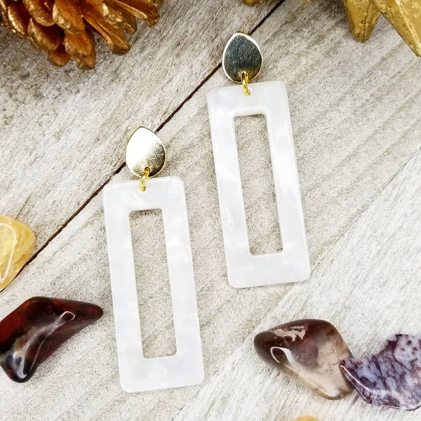 Winter White Acrylic Earrings