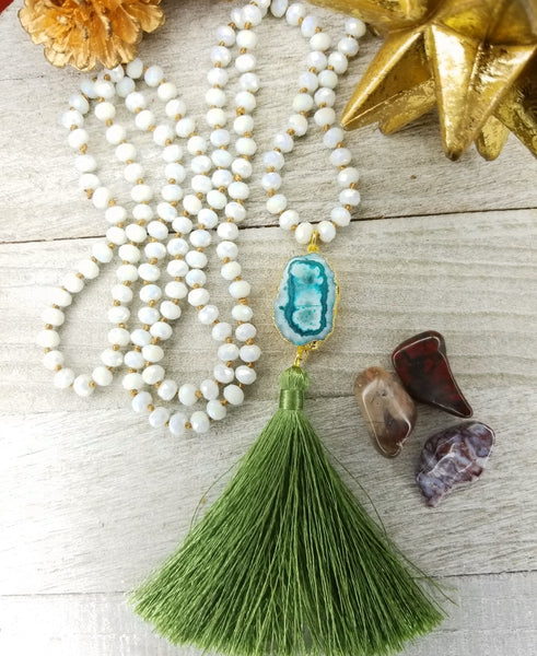 Long Faceted Crystal Necklace with green agate and tassel