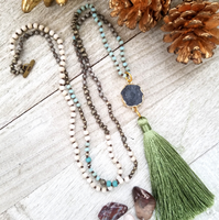 Long Crystal Necklace with Green Tassel