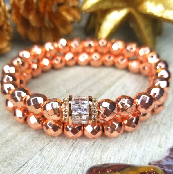 Rose Gold Faceted Hematite Bracelet Set