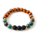 Flower Jasper and Black Lava Stone Beaded Bracelet With Warm Wood