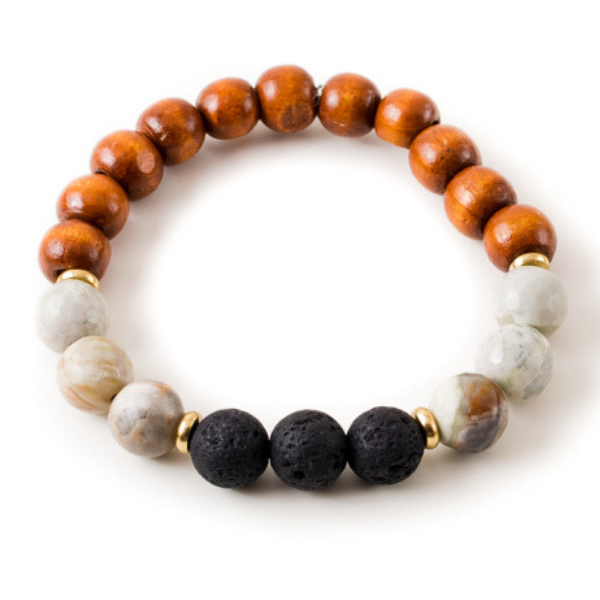 Gray Jasper and Black Lava Stone Beaded Bracelet With Warm Wood