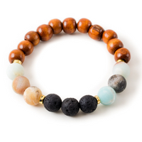 Amazonite and Black Lava Stone Beaded Bracelet With Warm Wood