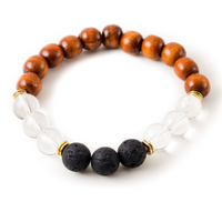 Clear Quartz and Black Lava Stone Beaded Bracelet With Warm Wood
