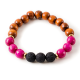 Dark Pink Dyed Jade and Black Lava Stone Beaded Bracelet With Warm Wood