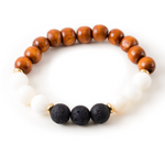 Mother of Pearl and Black Lava Stone Beaded Bracelet With Warm Wood