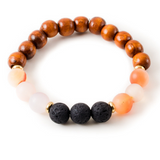 Peach Agate and Black Lava Stone Beaded Bracelet With Warm Wood