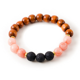 Pink Agate and Black Lava Stone Beaded Bracelet With Warm Wood