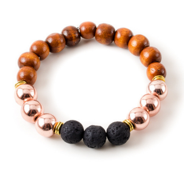 Rose Gold Hematite and Black Lava Stone Beaded Bracelet With Warm Wood