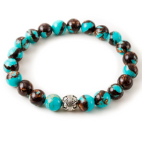 Turquoise Bronzite with Silver Pewter Accent
