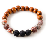 Pink Zebra Jasper and Black Lava Stone Beaded Bracelet With Warm Wood